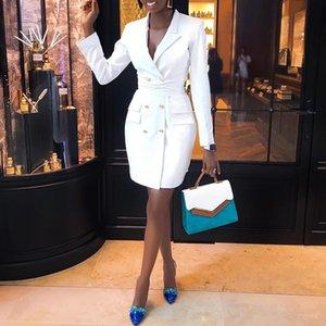 2019 Spring Women Elegant Fashion Trendy Slim Fit Work Wear Vestido Coats Female Vestir V-Neck Double Breasted dresses Blazer
