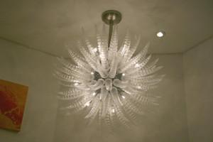 Cristallo moderna Custom Made White Clear Glass Chandelier Lumi soffitto decorative moderne lampadine LED Murano Pendente in Vetro di lampade