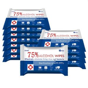10pcs / bag 75% Alcohol Wipes Sanitizing تعقيم تطهير تنظيف منشفة مسحات منصات مطهر للمنازل هاتف مطبخ