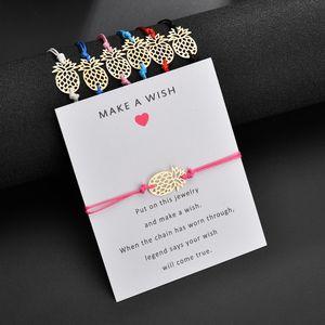 Make a Wish Braccialetto di fascino a forma di ananas con Gift Card Per le donne Oro Frutta Bianco Nero Rosso Rosa corda Corda Wrap BangleJewelry