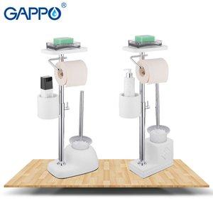Gappo Bad-Hardware Sets wissen freistehenden Bad WC-Bürstenhalter mit Papierhaltern Toiletten Regal Badaccessoires T200425