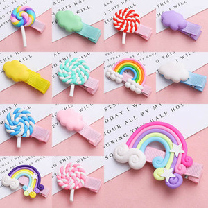 Rainbow Clouds horquillas Lollipop horquilla colores de los bebés caramelo de la manera linda Barrettes Clip Kids Hair Boutique nave de la gota tocado de los niños