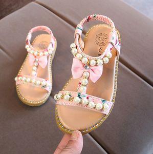 Kids Shoes New Summer Bowknot Beach Fashion Princess Children Diamond Sandals For Girls T200530