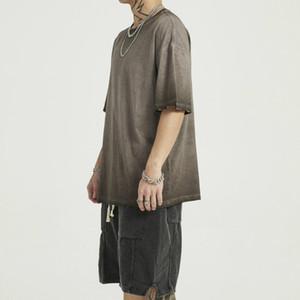 Prenda de lavado de algodón de gran tamaño de la camiseta rasgada de los puños de manga corta raglán Streetwear