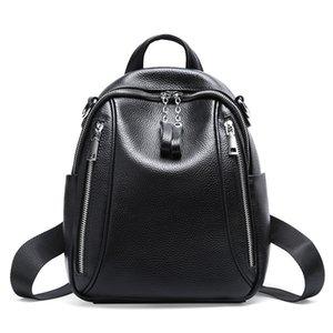 La bolsa de cuero auténtico Boshikang Mochila Negro Color de mujeres mochilas hombro de las señoras bolso de escuela adolescente Capcity grande