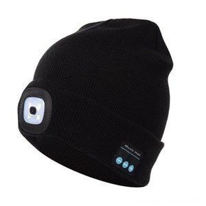 Men Sports Caps & Headwears Athletic & Outdoor Accs Women Knitted Hat Built-in 4Pcs Led Lights BT5.0 Knit Cap Autumn Winter Warm Beanie Cap
