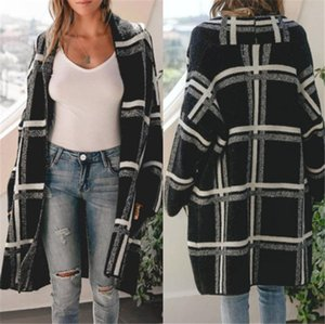 Womens Winter Coats Plaid Printed Designer Cardigan Sweaters Cardigans Casual Loose Long Sleeved Sweaters Fashion Women Coats
