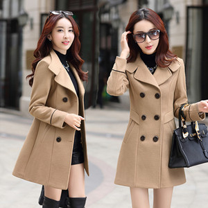 Woolen Coat Female Medium-long Thicken Middle-aged Women Winter Big yards Warm 2017 Winter Houndstooth Slim Woolen Coat w532