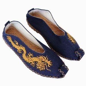Asian étnica puro cânhamo rasas boca Sapatos cabeça encaracolado sapatos slacker dragão bordados homens China Japão sapatos Tailândia Vietnã
