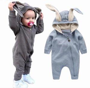 Nuovi arrivi Baby Rabbit Hooded Bodysuits Cute Boys Girls Pagliaccetti manica lunga Toddler Rabbit Orecchie Tute con cerniera 95% cotone Tutine per neonato