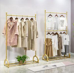 magasin d'or robe de mariée hommes rack vêtements de fer magasin de vêtements et femmes plancher cintre en métal à double suspension réglable en couche