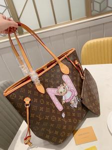 2PC mulheres designe bolsas naverfull sacos de marca bolsas de lona de ombro embreagem Saco de compras de alta qualidade sacos de viagem estilo clássico quente venda