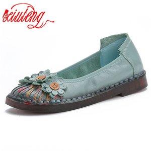 Xiuteng 2019 Été Mode Femmes Femmes Chaussures Bureau Casual Elegant Confort Femme Chaussures loisirs Chaussures en cuir véritable
