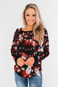 Christmas Day Womens Designer Tshirts Casual Christmas Print Panelled Womens Long Sleeve Tees Casual Females Clothing