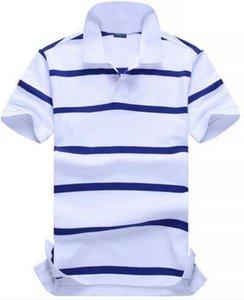 Весна Осень Мужчины Классические футболки Малый Pony Вышивка Лето с коротким рукавом Тонкий Polos Хлопок Бизнес поло тройники Белый Синий