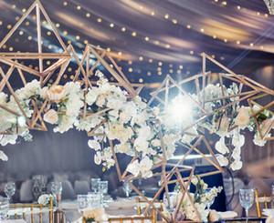 6sets) 3pcs / set) New Wedding metal Arch partido Fundo Hexagonal Flower Stand senyu1453 Peça central Vasos Decoração Tabela