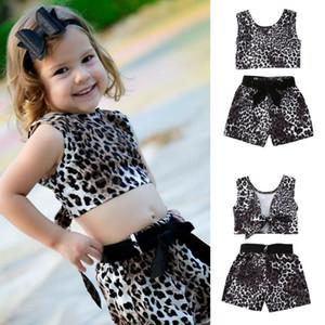 Малыш Детские Baby Girl Одежда наборы 1-5Y рукавов Leopard печати футболки Топы Vest Шорты Брюки Outfit
