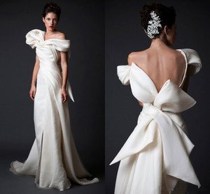 Krikor Jabotian Elfenbein Brautkleider mit rückseitigem Bogen Kleider nach Maß gekräuselte Formal Wear Mantel Off-Schulter-Backless Brautkleid Brautkleid