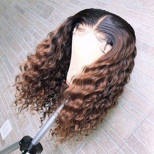 Curly Ombre Mel loira 1b / 30 180Density Cabelo Humano Pré arrancou Lace Wigs para Mulheres Negras Kinky Curly perucas completas do laço