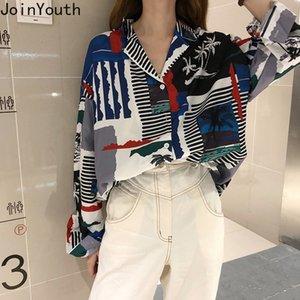 Joinyouth 2020 Primavera de manga larga blusa de las mujeres de impresión causal coreano tapas de la camisa solo pecho Turn Down Femme Blusas 59373