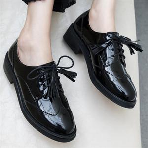 Fedonas Euro Estilo Mujeres Ronda Toe Chunky Heels Negro Punk Zapatos Casual Mujer Primavera Otoño de charol con cordones Zapatos
