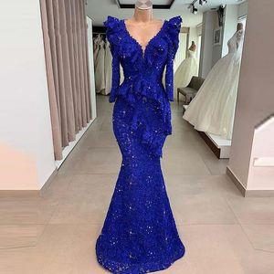 2020 Superbe Royal Blue Robes de bal col en V à manches longues soirée élégante Robe de cérémonie marocaine Kaftan Mermaid Party Celebrity Dress