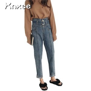 2019 New Spring Autumn Fashion High Waist Harem Pants Jeans Lace Up Cuffs Vintage Pant Women Slim OL Ankle-Length Trousers