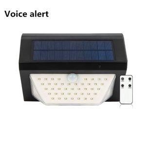 Transfrontaliera nuovo allarme vocale solare solare senza fili di telecomando LED di sicurezza spie giardino solare Lampade da esterno