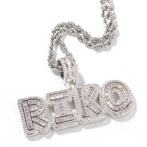 Hip Hop Custom Name Baguette Bubble Letter Pendant Necklace With Free Rope Chain Gold Silver Bling Zirconia Men Pendant Jewelry