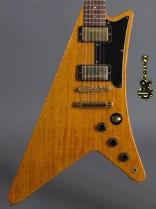Nadir Moderne Korina 1958 Reissue Mirası 1982 Doğal Uçan V Elektro Gitar Tekne Kürek Gambu Tarzı Headstock, Nokta Kakma, Altın Donanım