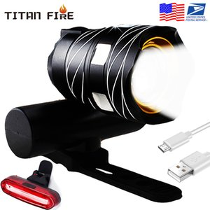 Zoomable T6 LED Light Bike Bicycle Light Set USB Rechargeable Headlight Flashlight Waterproof Cycling Lamp for Bike