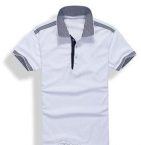 2017 yeni yüksek kaliteli Yaz Sıcak Satış yaka Polo Pamuk Gömlek Erkekler Kısa Kol Spor Polo Çizgili moda Casual Ücretsiz Kargo