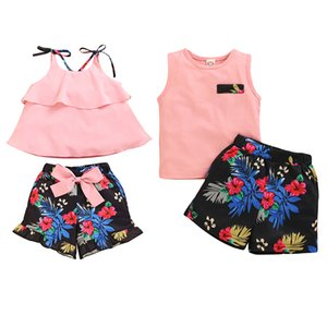 Summer Baby Girls Boys Casual Outfits Set Toddler Children's Short Sleeve Solid Print T-shirt Tops + Shorts Suits 2020 Hot Sale