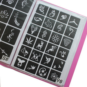 300 PC / carpeta Plantillas reutilizables pegatinas tatuaje solar, pintar pigmentación plantilla del aerógrafo del brillo tatuaje de la alheña Al conjunto de patrones de tatuaje