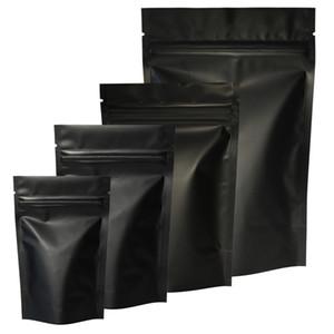 Haute qualité 100pcs sceau de chaleur serrure zip serrure sacs de paquet de feuille d'aluminium mylar déchirer l'encoche mat matte noir stand up sac en gros