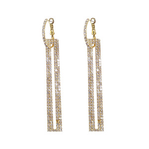 Fashion Long Geometric Drop Earrings Luxury Gold Silver Color Rectangle Rhinestone Earring for Women Party Jewelry Gift