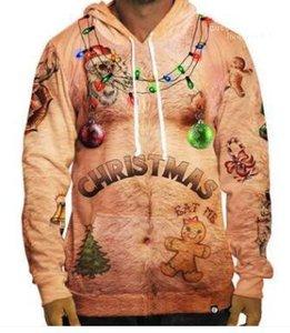 ELK baskı 3D tişörtü Hommes Xmas Kazaklar Kapşonlu Mens Noel Hoodies tasarımcı ışıkları geyik