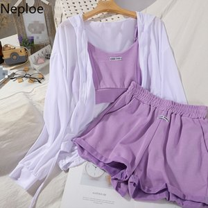 Neploe 3 Piece Set Women Hooded-Collar Zipper Long Sleeve Shirts+Sling Vest+Elastic Waist Wide Leg Shorts Fashion Summer Suits T200701