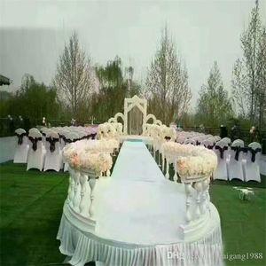 Oro blanco romana Columna de plástico Valla Guía de Ruta Puntales artificial jarrón puesto de flores con arreglo floral para el telón de fondo de la boda
