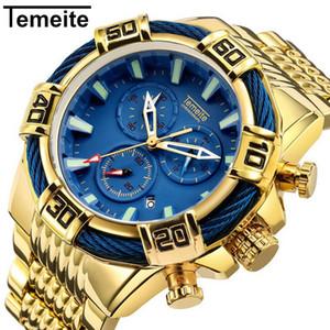 Top Marca Temeite Nuevos Relojes Analógicos de Cuarzo Dial Grande Reloj de Oro Hombres Hombres de Negocios Relojes Militares Hombres Relogio masculino