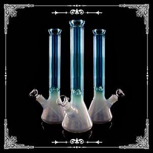 Tubulações de água de vidro 9MM Bong holográfica do arco-íris 16 polegadas de profundidade de processamento de cachimbos de vidro taça Hookah frete grátis