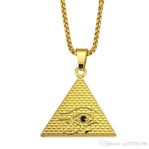 Fashion Men Evil Eye Necklace Hip Hop Jewelry Popular Gold Silver Color 75cm Long Chain Pendant Necklaces For Men