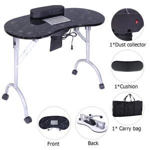 SONYI manucure Table pliante portable avec collecteur de poussière Coussin ventilateur Clou station Technicien bureau poste de travail client poignet Pad noir