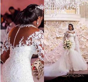 Arabric sirena vestidos de encaje 2020 Girl estilo Nueva Negro Sheer cuello con cuentas ilusión vestidos de novia de tren de manga larga Vestidoe de Noiva
