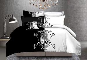2019 NEUE Art und Weise Bettwäsche Schuh Fingerabdruck mr. Frau. beding Set 3 Stück / Set König Königin in voller Größe Bettbezug-Set