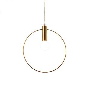 Antique Golden Circle Luzes pendentes Originalidade chapeado vácuo Vintage luminária de Bar Hanglamp Simples