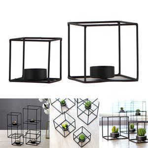 2pcs Negro alambre de metal 3D geométrica sostenedor de vela de la luz del té del sostenedor del estante