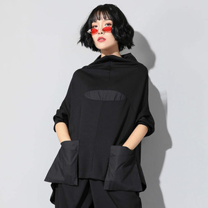 Xitao Harajuku Patchwork Cep Tişörtlü Kadınlar Standı Yaka Artı boyutu Casual Siyah Streetwear Kadın Dikiş Kore Yaz LYH2877