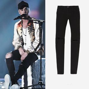 2017 New Hot Fashion Fear of God FOG fermetures à glissière skinny slim fit mens Distressed justin bieber noir coton Denim jeans hommes jean