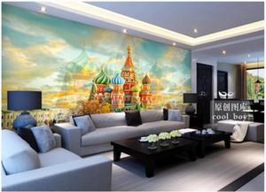 gigantografie personalizzato carta da parati 3d murale sfondi Paesaggio idilliaco europea retrò lusso di spessore a muro per TV sfondo del castello chiesa classica